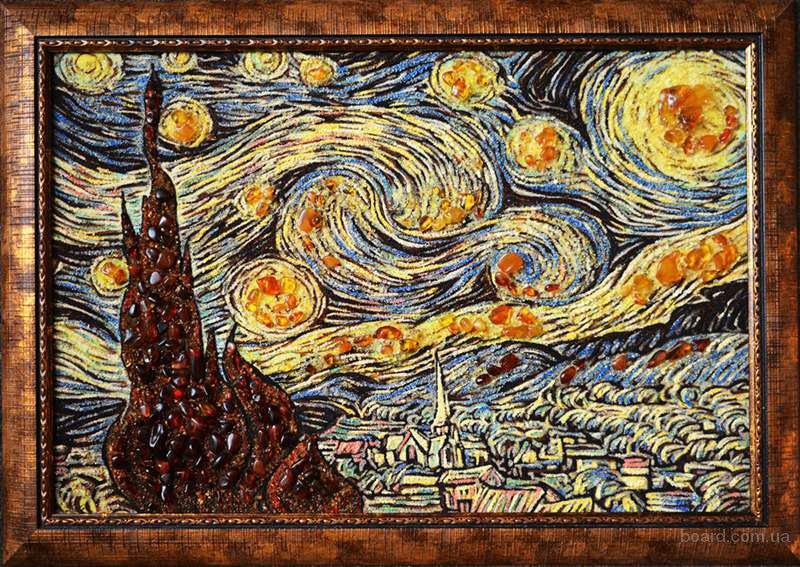 """Картина з бурштину """"Зоряна ніч"""""""