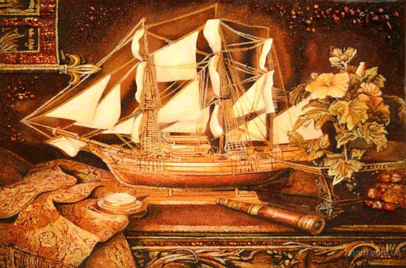 "Картина з бурштину ""Корабель"""
