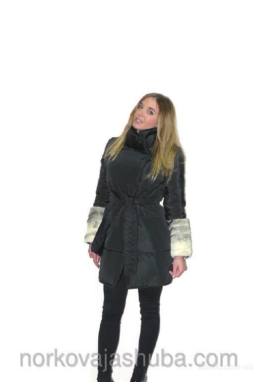 Стильная куртка парка с мехом норки большие скидки