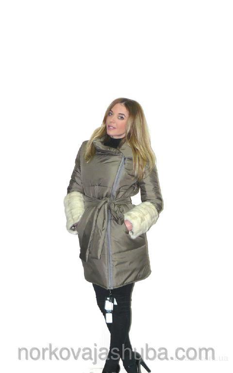 Оригинальная куртка пальто с меховыми рукавами