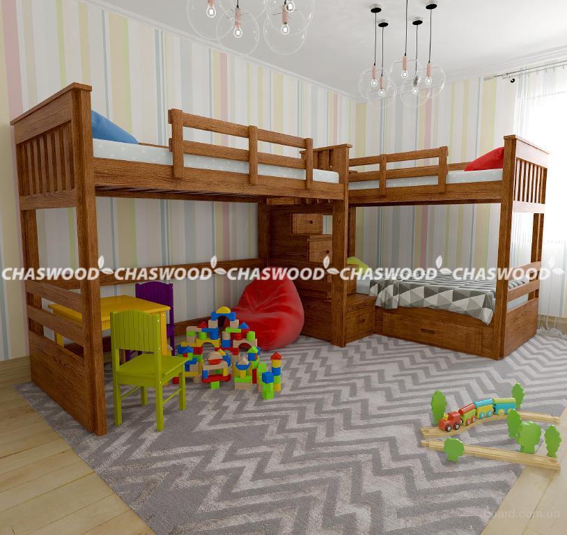 Двухъярусная кровать Саванна трио из натурального дерева