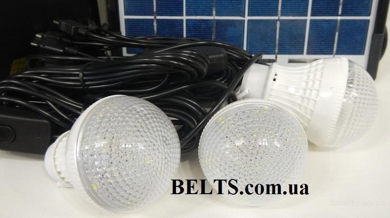 Купить.Аккумулятор - фонарь с солнечной батареей GD-8033 и 3 светодиодными лампами (солнечная система 8033)