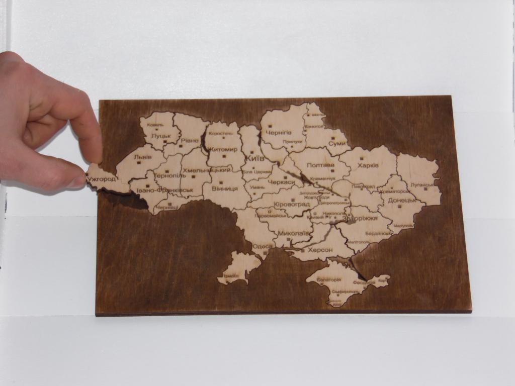 Пазл карта Украины (дерево)