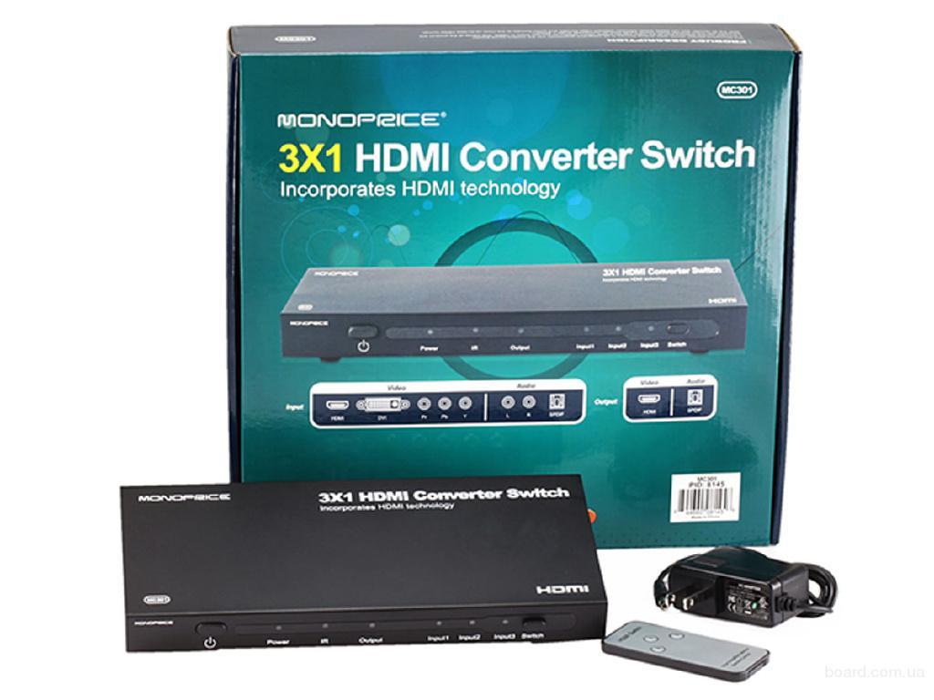 Цифровой и аналоговый аудио/видео в HDMI 3×1   конвертер свитч