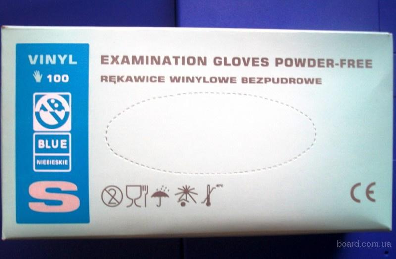 Перчатки виниловые неопудренные синие