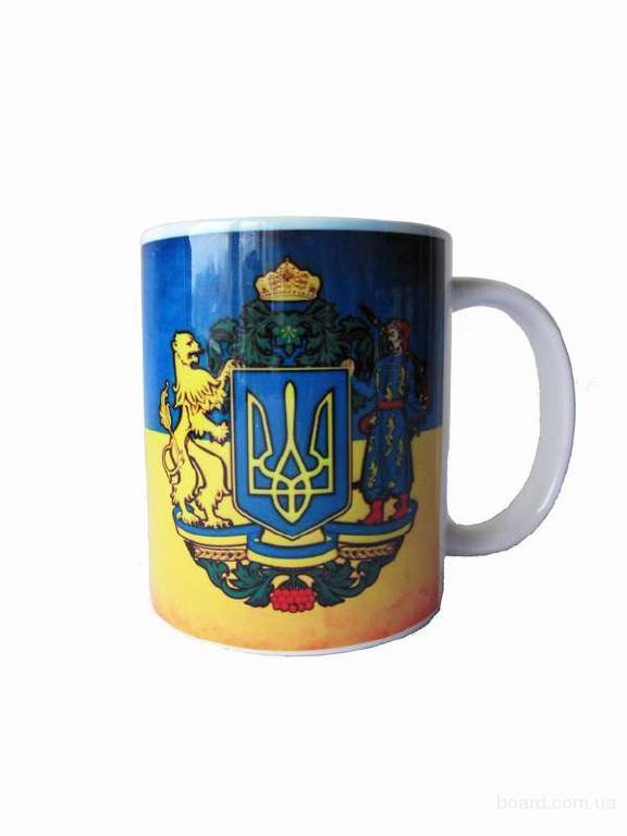 """Чашка біла """"Герб України"""""""