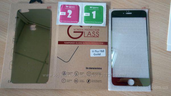 Зеркальное защитное стекло пленка iPhone 6+ plus золото серебро