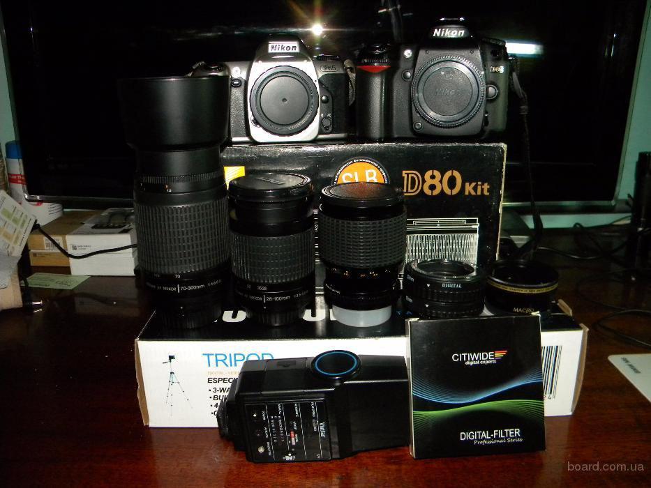 комплект профессионала, фотоаппарат Nikon D80 +богатый набор комплектации