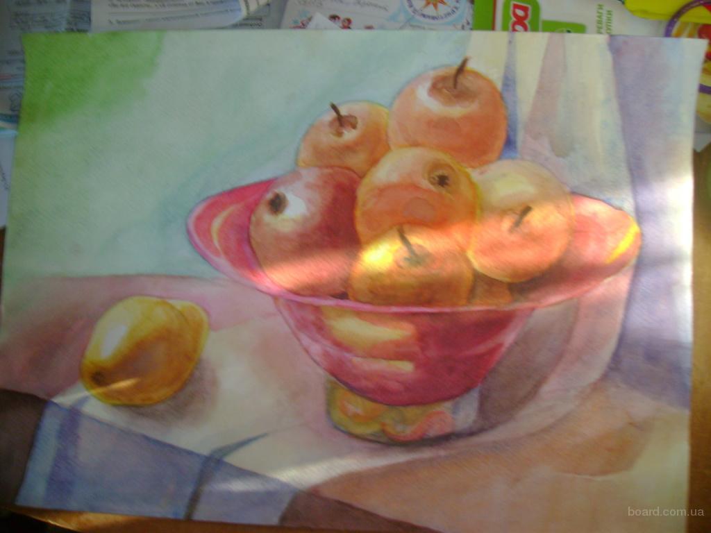 Картина Натюрморт с яблоками. Акварель, 295х420мм