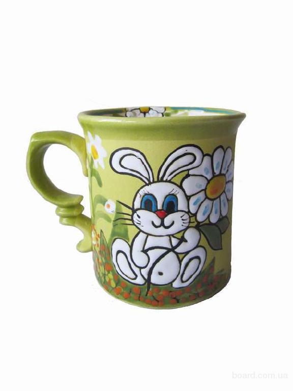 """Чашка чайна """"Зайчик з ромашкою"""" кольорова"""
