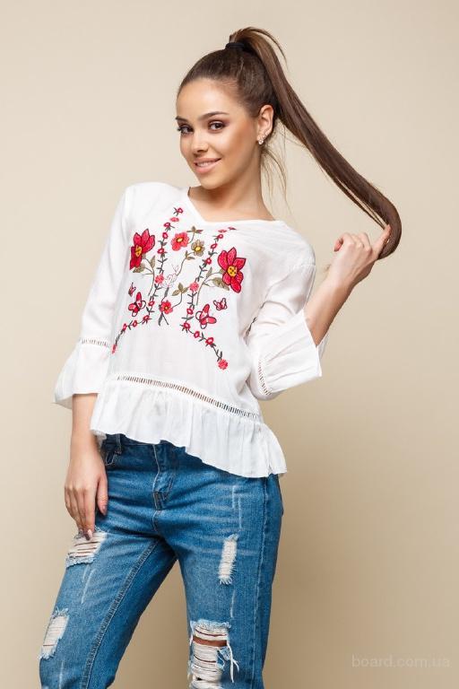 Белая блузка вышиванка в интернет магазине Aximoda.