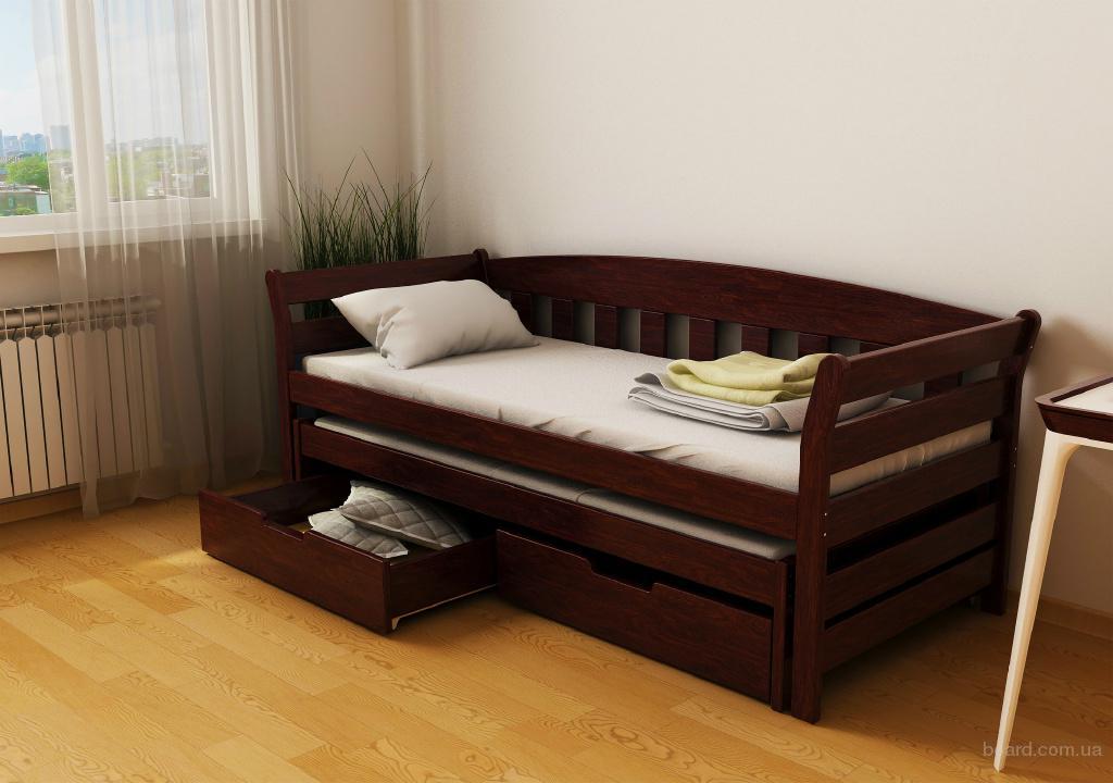"""Кровать из дерева """"Селена Аури"""" с подъемным механизмом"""