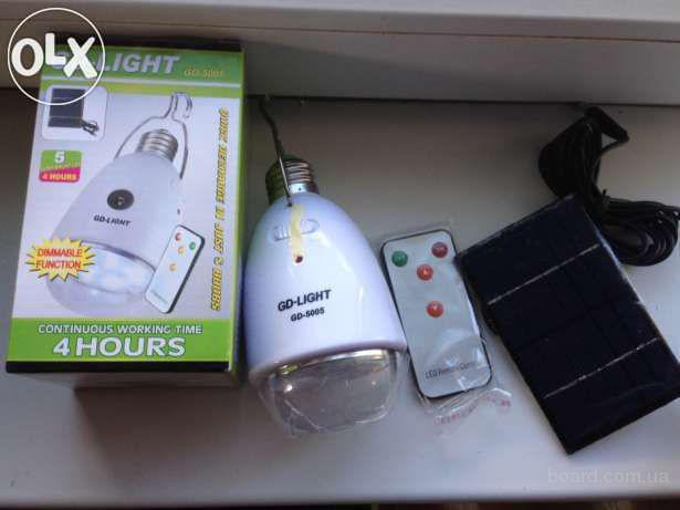 Cветодиодная лампа с аккумулятором gd-light 5005 с солнечной батареи!