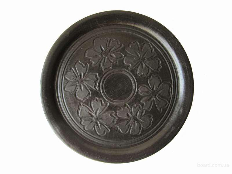 """Тарілка глиняна плоска """"Глянц"""" Квіти"""
