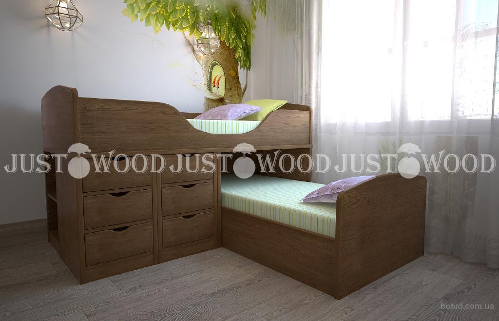 Двухъярусная кровать Умка из натурального дерева