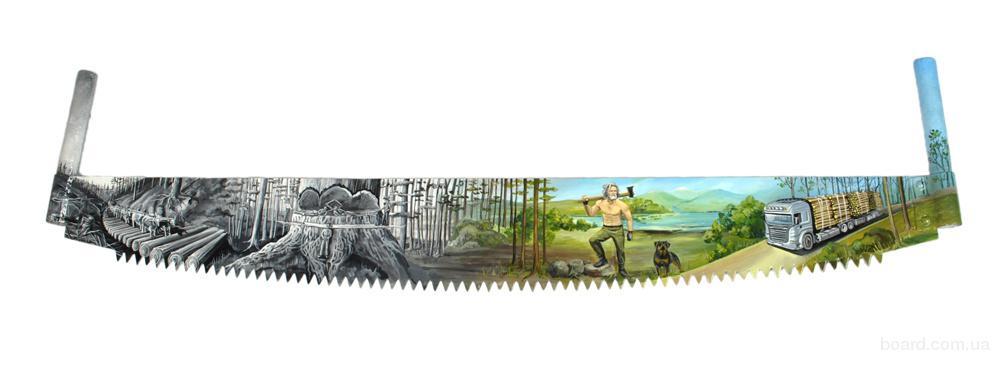 расписная пила Лесорубы купить подарки ручной работы Киев