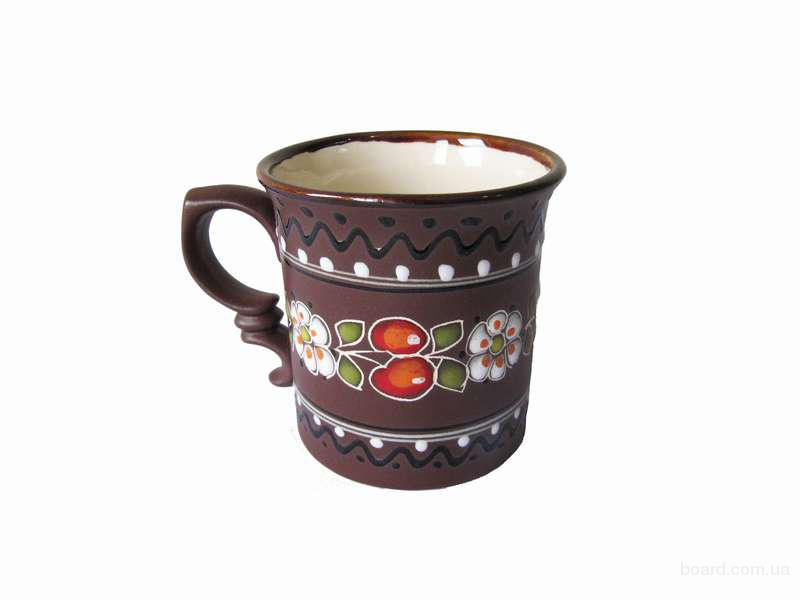 """Чашка глиняна середня обрізна """"Вишня"""""""