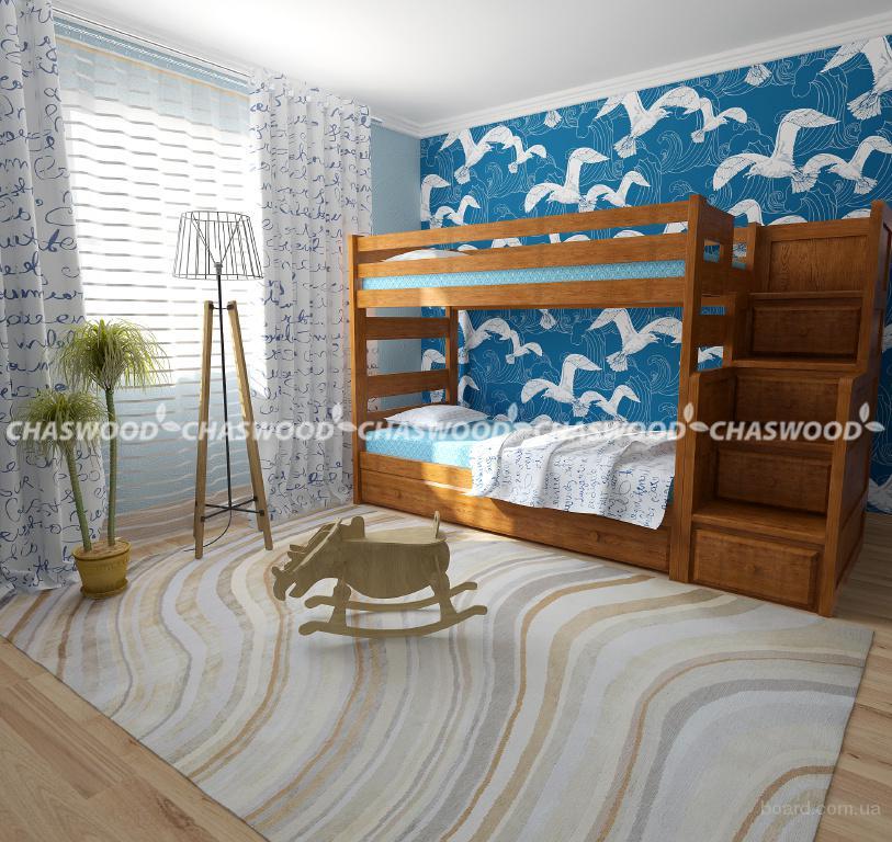 Двухъярусная кровать Саванна из натурального дерева