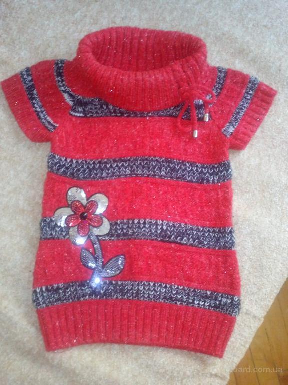Теплая кофта-туника-платье для девочки 5-6 лет