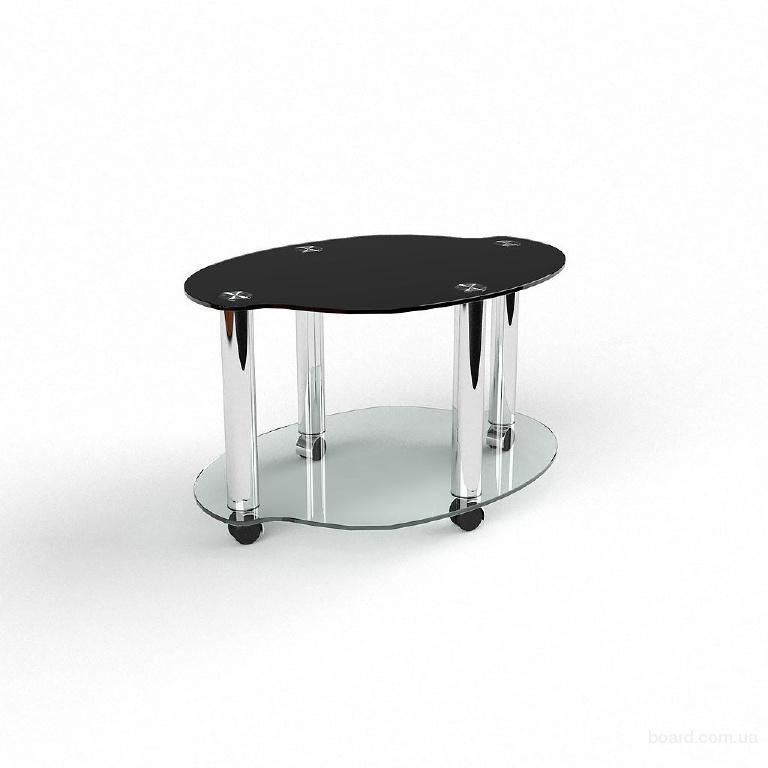 Стеклянный журнальный столик на колесиках Недорого