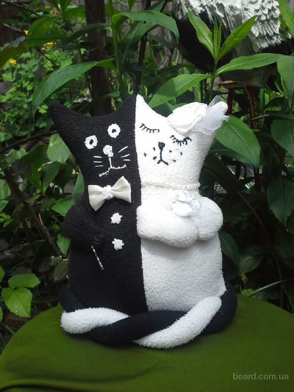 Свадебные коты-неразлучники, мягкая игрушка ручной работы, подарок на свадьбу