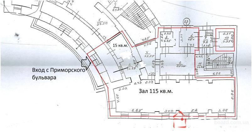 6909 Фасад на Приморском бульваре под ресторан или магазин
