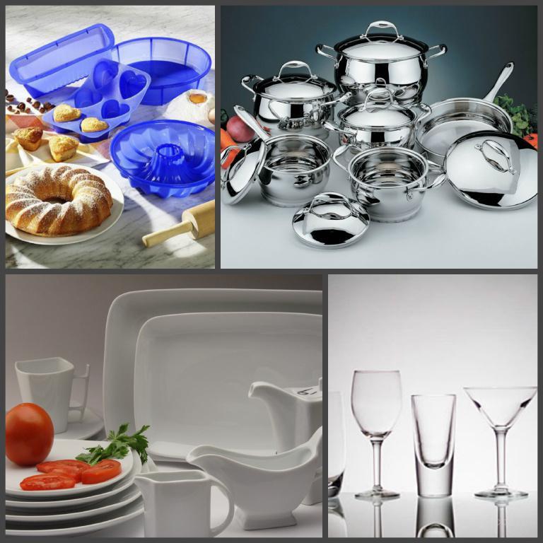 Посуда столовая (нерж., эмаль, фарфор), кухонная утварь, хозтовары.