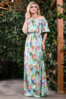 Романтичное бирюзовое платье с узором