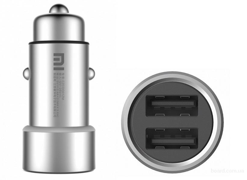 Автомобильное зарядное устройство Xiaomi АЗУ 2 USB 3,6 А Car Charger silver  Подбор аксессуаров, чехлы, защитные стекла, пленки, книжки и прочее Опт и