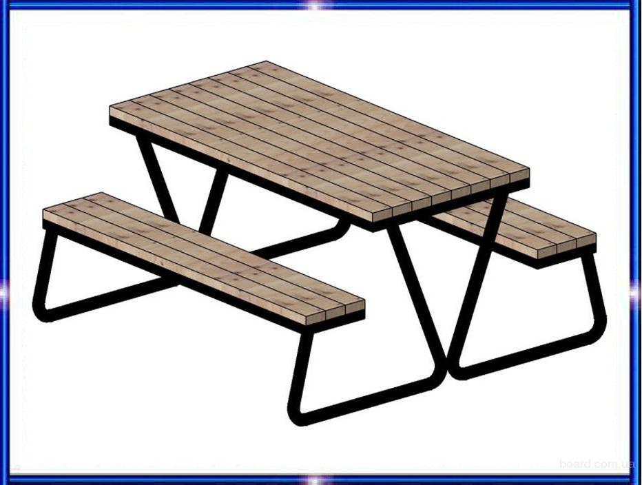 Садово-парковый комплект мебели из стола и двух лавок. Садовая и парковая мебель - скамейки, столы и лавки