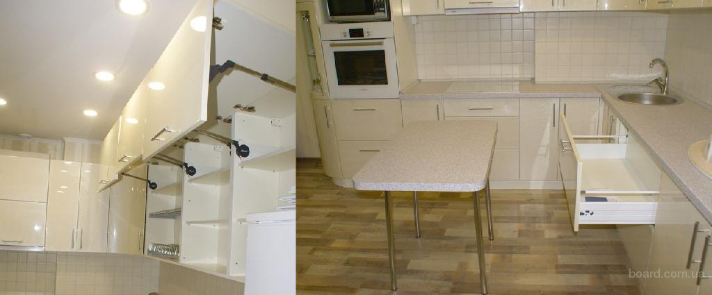 Кухня: фасады краска МДФ, столешница Egger, фурнитура Blum, подъемники Aventos HF.