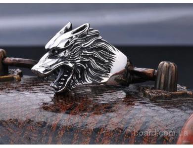 Кольцо мужское Волк, сталь 316L