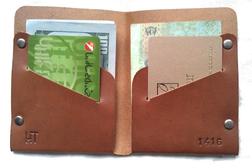 Мужской кошелек портмоне из натуральной кожи коричневый тонкий ручная работа. KAG Leather МК-102К