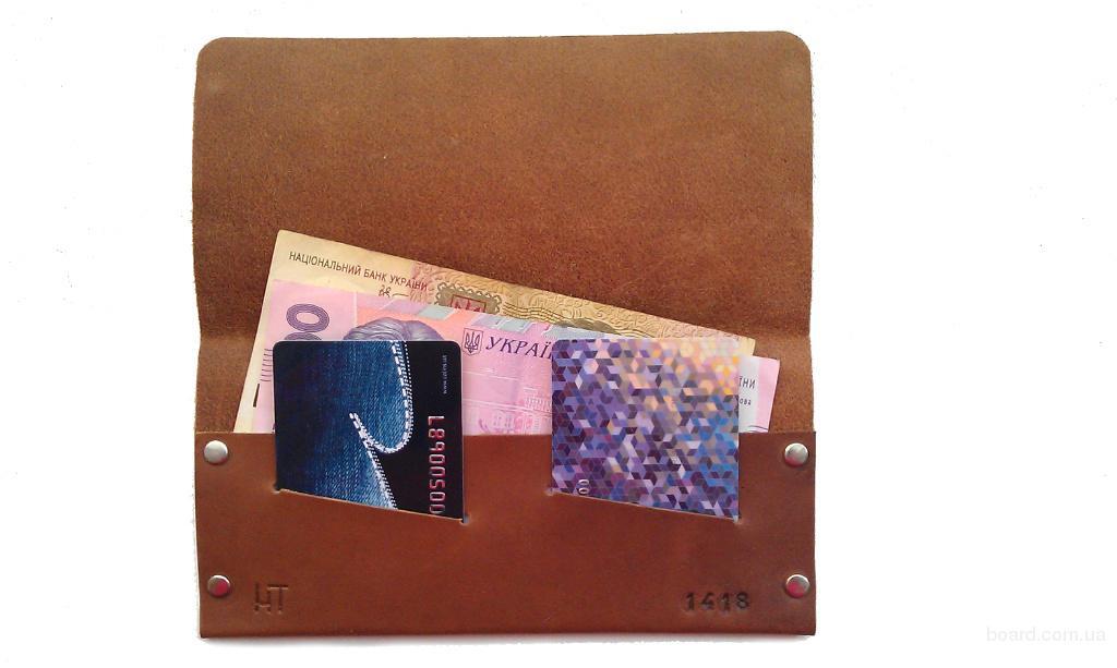 Женский кошелек из натуральной кожи коричневый тонкий ручная работа. KAG Leather ЖК-103К