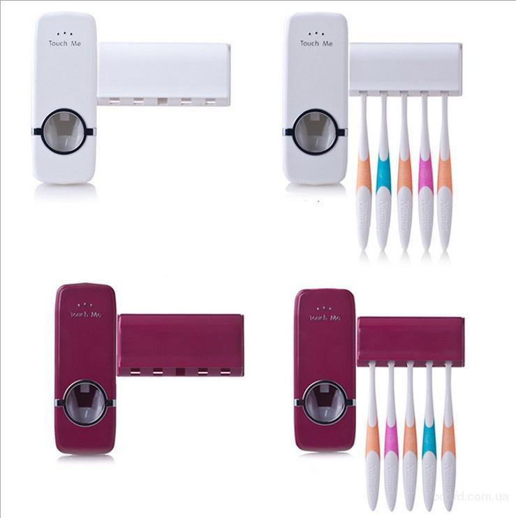 Украина.Автоматический дозатор зубной пасты Toothpaste Dispenser + подарок держатель зубных щеток Toothbrush holder