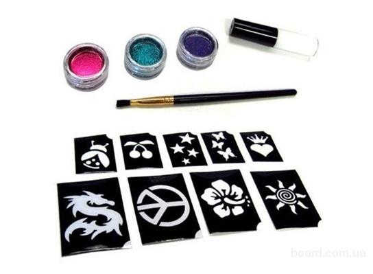 Киев.Трафарет для временного тату Shimmer Glitter Tattoos, набор для глиттер
