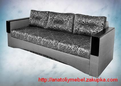"""Сучасний диван єврокнижка з дерев""""яними накладками."""