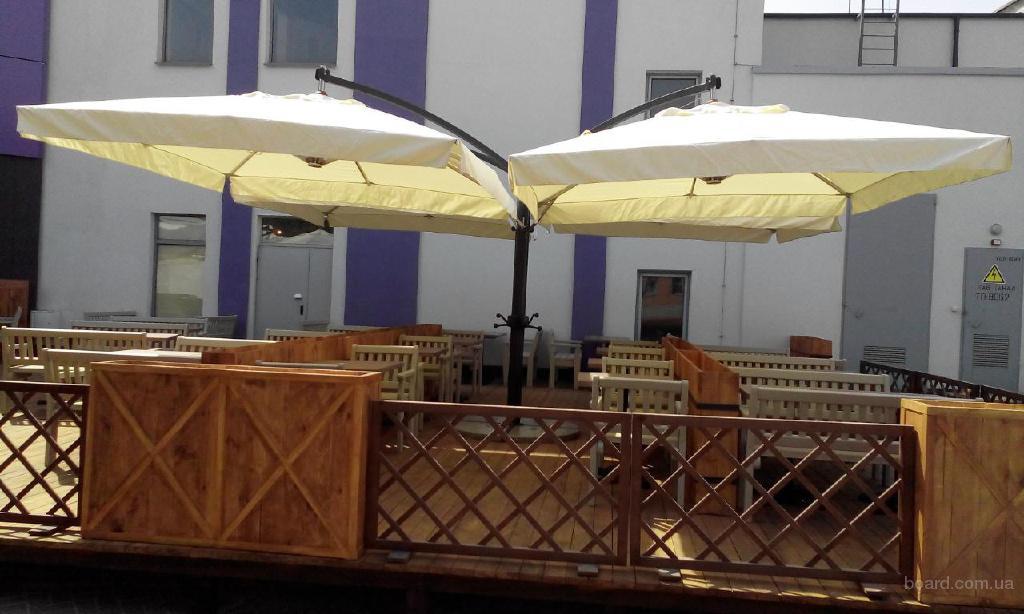 Уличный  консольный зонт Quadro 36м2 для летних площадок баров, ресторанов и кафе