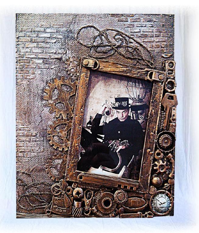 Фоторамка в стиле steampunk ручная работа оригинальный подарок мужчине на день рождения