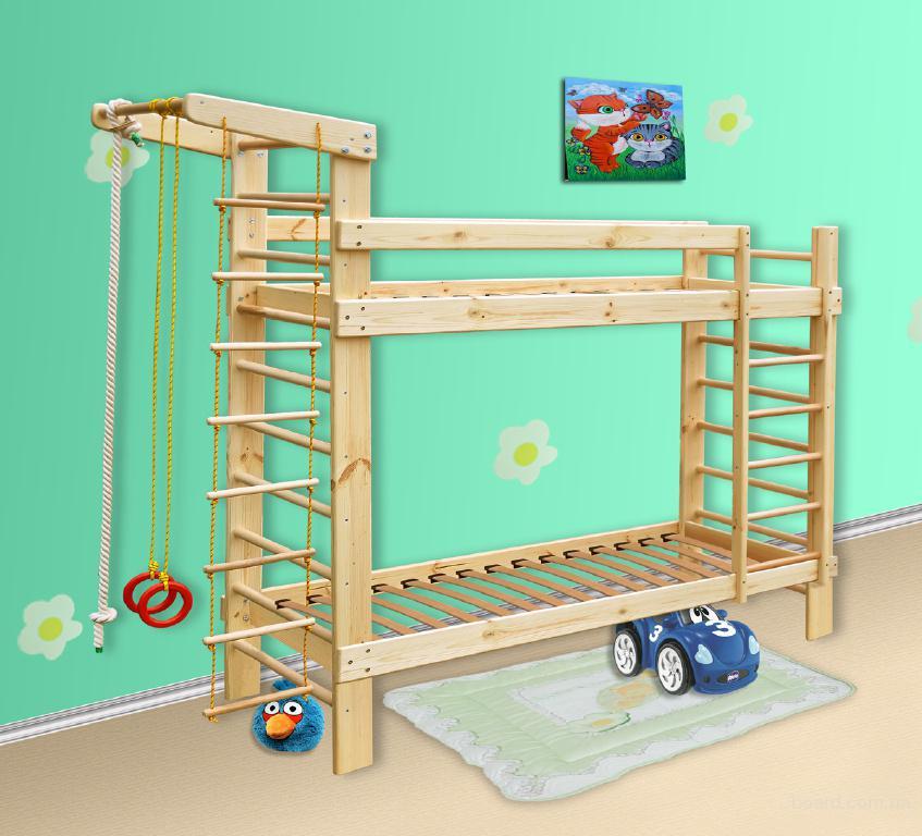 Спортивная двухъярусная кровать из сосны, спортивный уголок, шведская стенка
