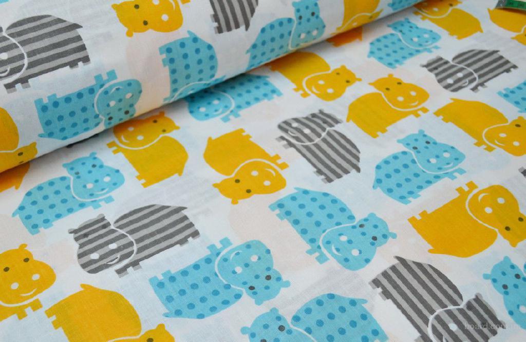 Постельное белье в кроватку 3 предмета, Бегемотики Цветные