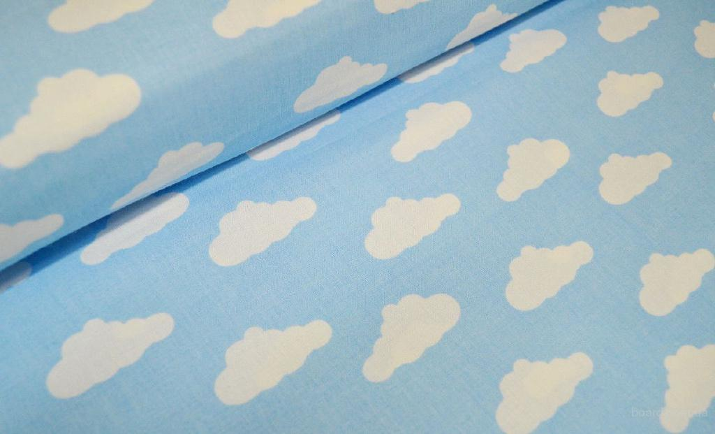 Купить детское постельное в кроватку, Облачка на голубом