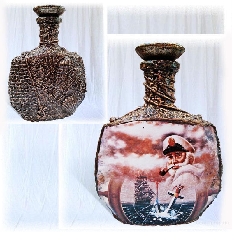 """Оформление бутылки в морском стиле """"Капитану"""",  морские сувениры, подарок моряку"""