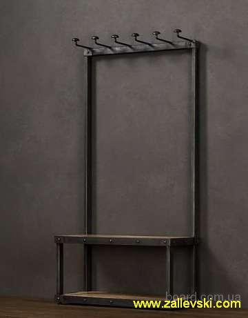 Вешалка кованая, вешалка в прихожую, прихожая лофт. Стеллажи металлические кованые, этажерка для книг, мебель лофт.