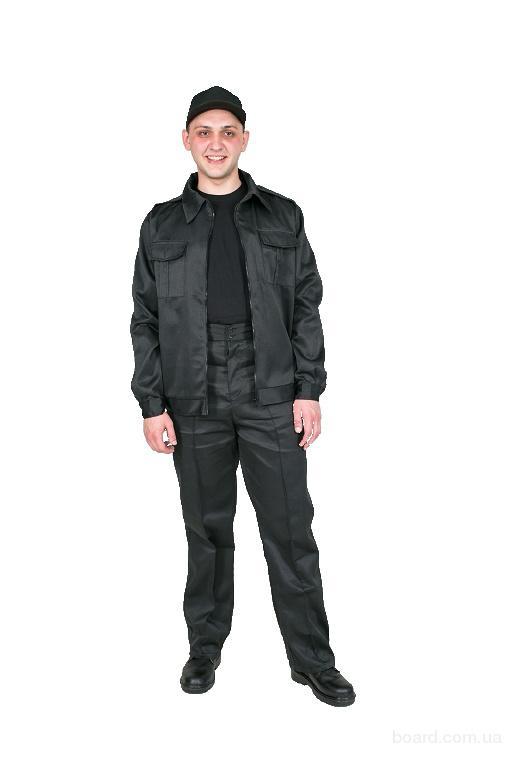 костюм для охраны черный,куртка на молнии прямые брюки