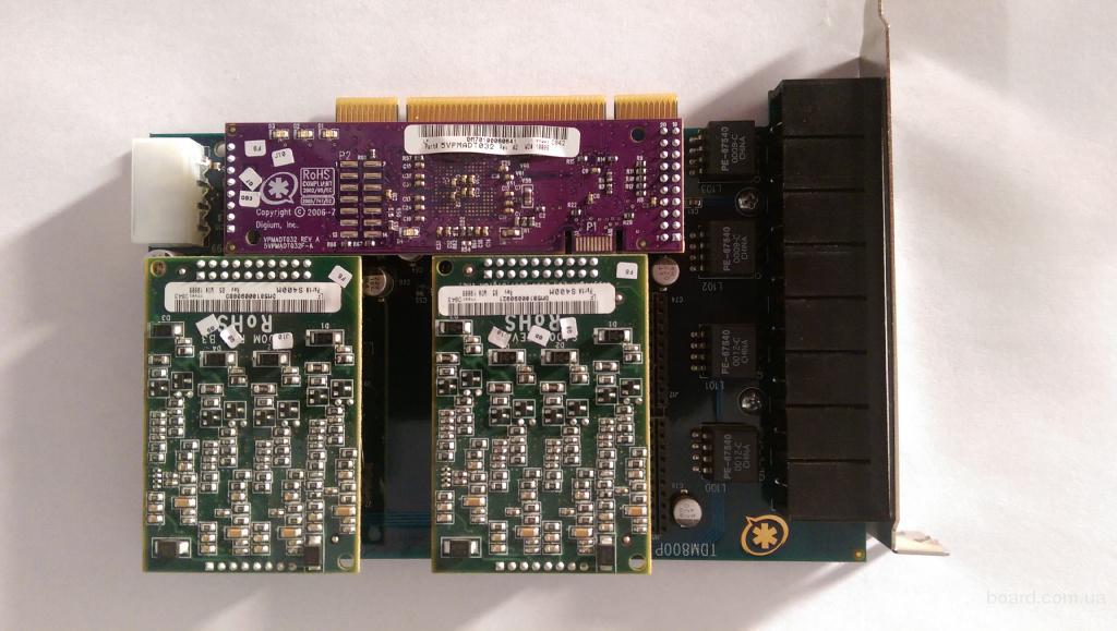 Плата VoIP Digium TDM880E & AEX808E Asterisk