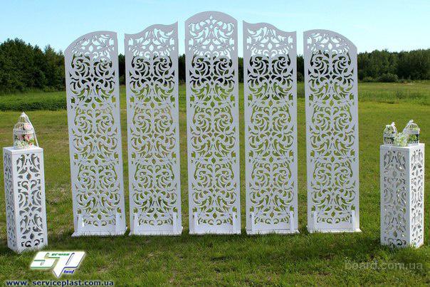 Свадебные декорации (ширмы, арки), президиум молодоженов, выездная регистрация