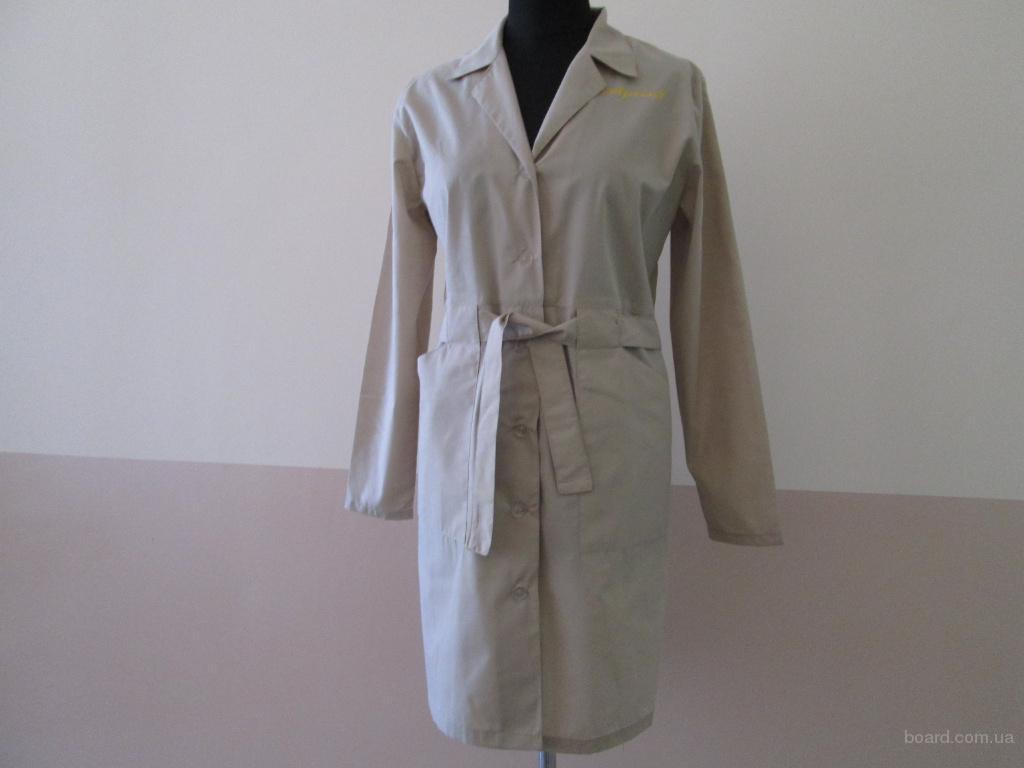 халат женский с поясом на широких шлевках,униформа для сферы обслуживания