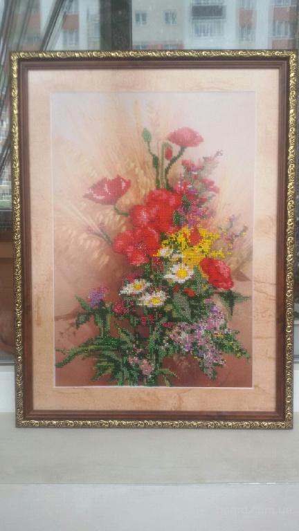 """Картина. Вышивка бисером. """"Цветы"""""""