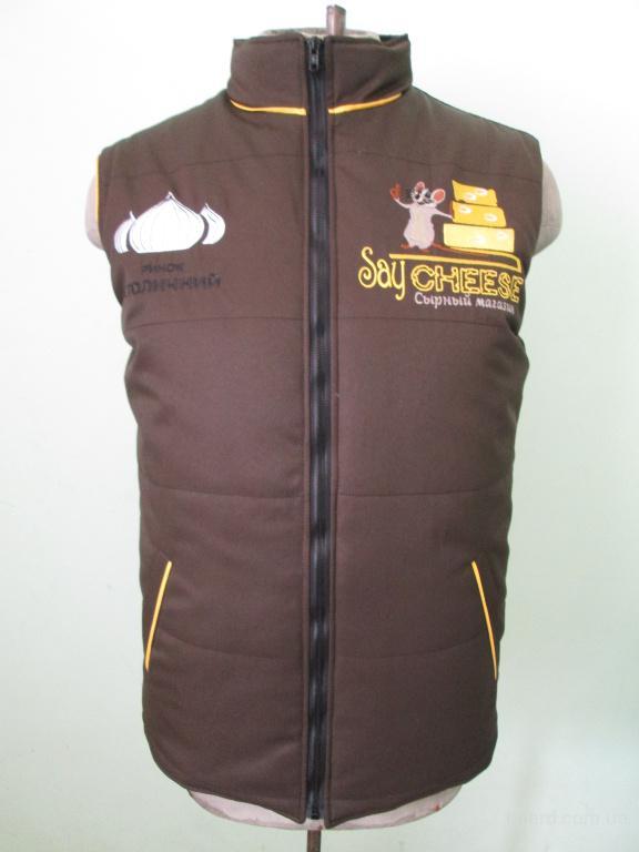 Жилет стеганый с логотипом,на синтапоне,утепленный жилет,униформа для продавцов,официантов